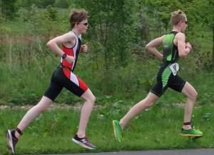 Will Smith (front) and Matthew Lambert (back) at the York junior triathlon