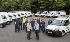 Councillor Ian Threlfall (left) and Colin Eales, Richmondshire District Council maintenance team leader with the housing maintenance workforce and the new fleet