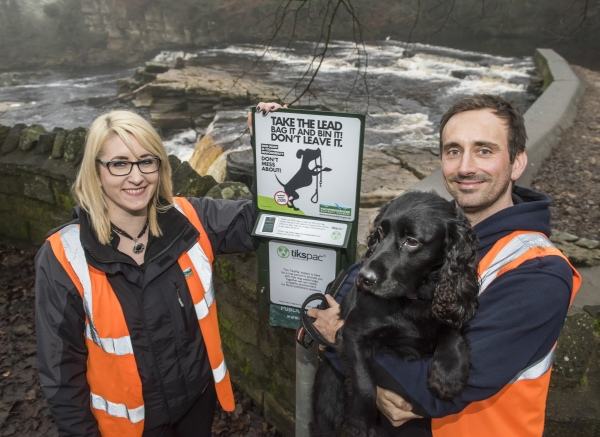 Dog warden, Lee Richardson – with Ziggy, and Recycling officer, Sally Dixon, beside the dispenser at the Fosse car park in Richmond